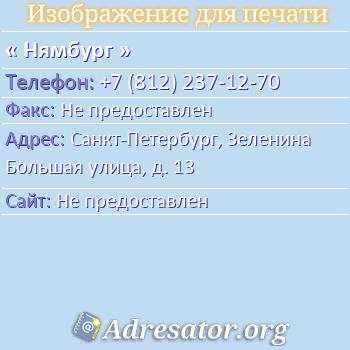 Нямбург по адресу: Санкт-Петербург, Зеленина Большая улица, д. 13