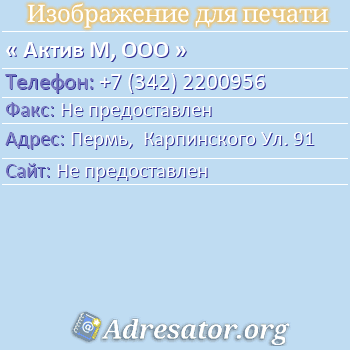 Актив М, ООО по адресу: Пермь,  Карпинского Ул. 91