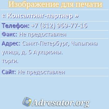Консалтинг-партнер по адресу: Санкт-Петербург, Чапыгина улица, д. 5 Аукционы. торги.
