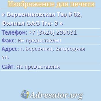 Березниковская Тэц # 02, Филиал ОАО Тгк- 9 по адресу: г. Березники, Загородная ул.