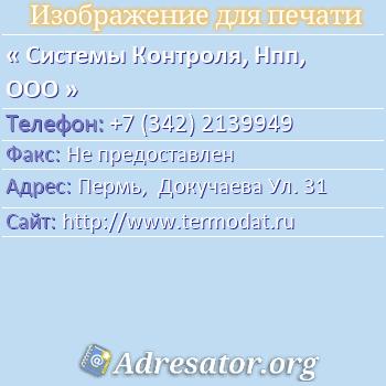 Системы Контроля, Нпп, ООО по адресу: Пермь,  Докучаева Ул. 31