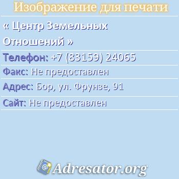 Центр Земельных Отношений по адресу: Бор, ул. Фрунзе, 91