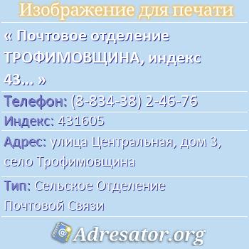 Почтовое отделение ТРОФИМОВЩИНА, индекс 431605 по адресу: улицаЦентральная,дом3,село Трофимовщина