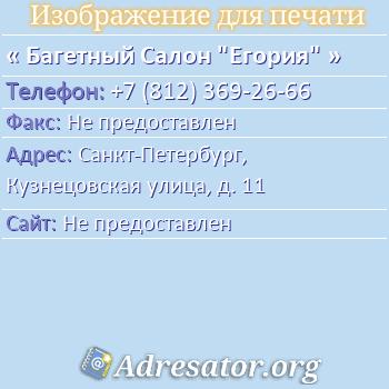 """Багетный Салон """"Егория"""" по адресу: Санкт-Петербург, Кузнецовская улица, д. 11"""