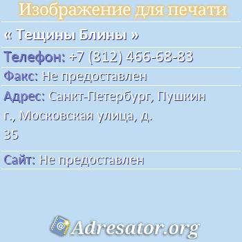 Тещины Блины по адресу: Санкт-Петербург, Пушкин г., Московская улица, д. 35
