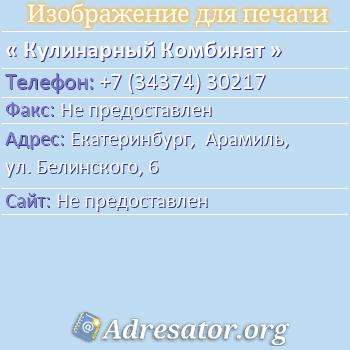 Кулинарный Комбинат по адресу: Екатеринбург,  Арамиль, ул. Белинского, 6