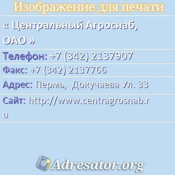 Центральный Агроснаб, ОАО по адресу: Пермь,  Докучаева Ул. 33