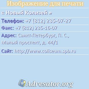 Новый Колизей по адресу: Санкт-Петербург, П. С., Малый проспект, д. 44/1