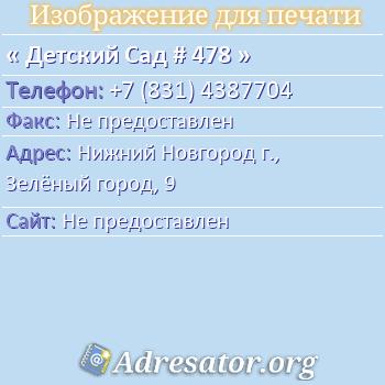 Детский Сад # 478 по адресу: Нижний Новгород г., Зелёный город, 9