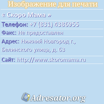 Скоро Мама по адресу: Нижний Новгород г., Белинского улица, д. 63