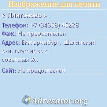 Платоново по адресу: Екатеринбург,  Шалинский р-н, платоново с., советская Ул.