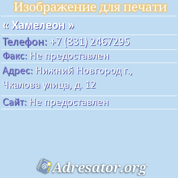 Хамелеон по адресу: Саратов,  Танкистов Ул. 68