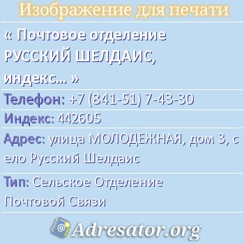 Почтовое отделение РУССКИЙ ШЕЛДАИС, индекс 442605 по адресу: улицаМОЛОДЕЖНАЯ,дом3,село Русский Шелдаис
