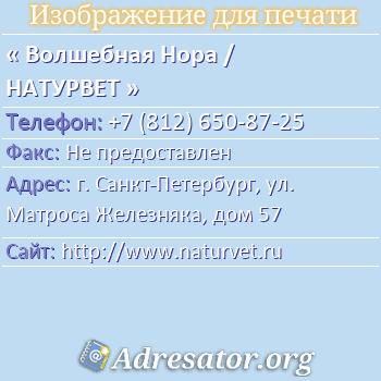 Волшебная Нора / НАТУРВЕТ по адресу: г. Санкт-Петербург, ул. Матроса Железняка, дом 57