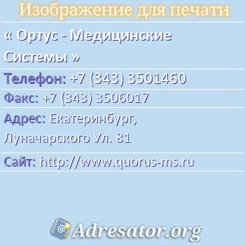 Ортус - Медицинские Системы по адресу: Екатеринбург,  Луначарского Ул. 81
