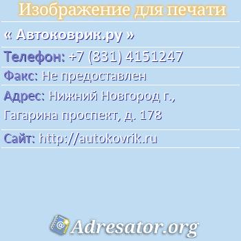 Автоковрик.ру по адресу: Нижний Новгород г., Гагарина проспект, д. 178