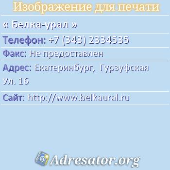 Белка-урал по адресу: Екатеринбург,  Гурзуфская Ул. 16