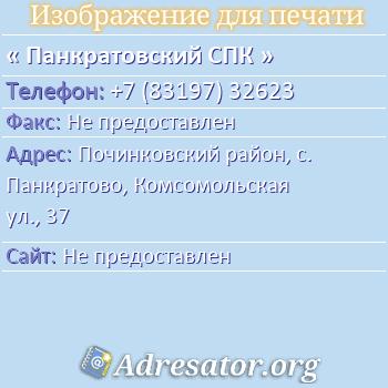 Панкратовский СПК по адресу: Починковский район, с. Панкратово, Комсомольская ул., 37