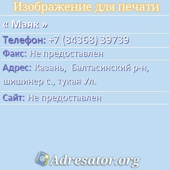 Маяк по адресу: Казань,  Балтасинский р-н, шишинер с., тукая Ул.