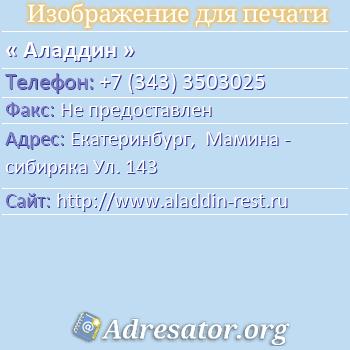 Аладдин по адресу: Екатеринбург,  Мамина - сибиряка Ул. 143