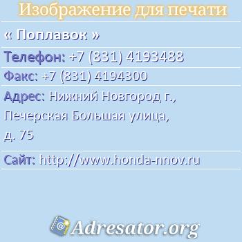 Поплавок по адресу: Нижний Новгород г., Печерская Большая улица, д. 75
