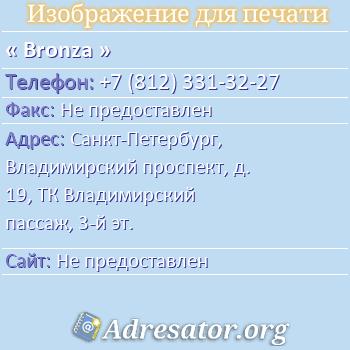 Bronza по адресу: Санкт-Петербург, Владимирский проспект, д. 19, ТК Владимирский пассаж, 3-й эт.