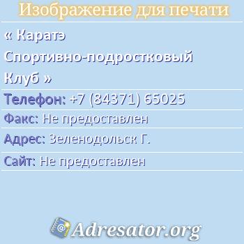 Каратэ Спортивно-подростковый Клуб по адресу: Зеленодольск Г.