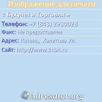 Бухучет и Торговля по адресу: Казань,  Халитова Ул.