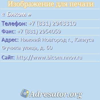 Биком по адресу: Нижний Новгород г., Юлиуса Фучика улица, д. 60