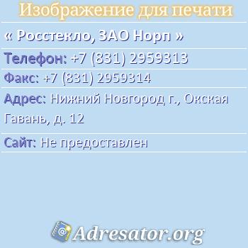 Росстекло, ЗАО Норп по адресу: Нижний Новгород г., Окская Гавань, д. 12