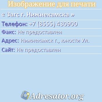 Загс г. Нижнекамска по адресу: Нижнекамск г., юности Ул.