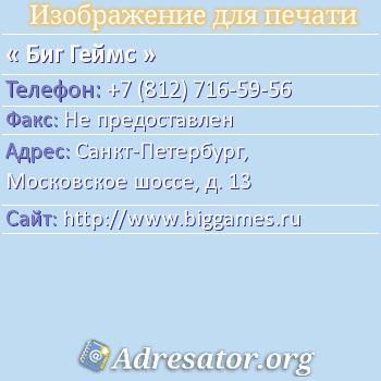Биг Геймс по адресу: Санкт-Петербург, Московское шоссе, д. 13