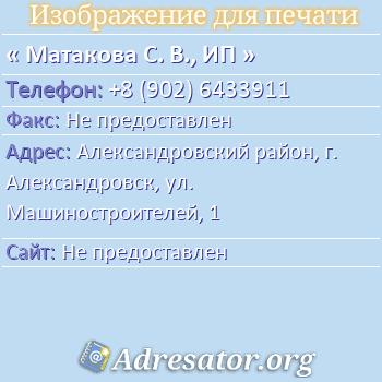 Матакова С. В., ИП по адресу: Александровский район, г. Александровск, ул. Машиностроителей, 1