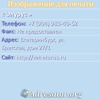 Элурус по адресу: Екатеринбург, ул. Братская, дом 27/1