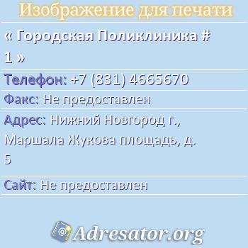 Городская Поликлиника # 1 по адресу: Нижний Новгород г., Маршала Жукова площадь, д. 5