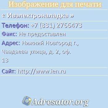 Ивэлектроналадка по адресу: Нижний Новгород г., Чаадаева улица, д. 2, оф. 13