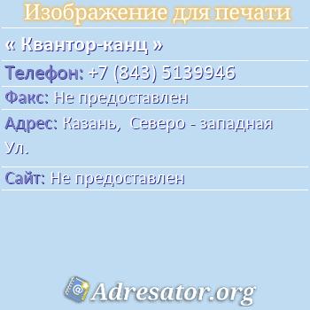 Квантор-канц по адресу: Казань,  Северо - западная Ул.