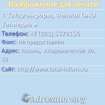 Татар-информ, Филиал ОАО Татмедиа по адресу: Казань,  Академическая Ул. 18