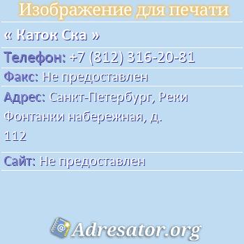 Каток Ска по адресу: Санкт-Петербург, Реки Фонтанки набережная, д. 112