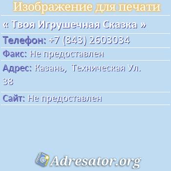 Твоя Игрушечная Сказка по адресу: Казань,  Техническая Ул. 38