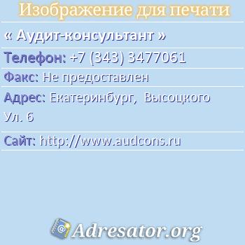 Аудит-консультант по адресу: Екатеринбург,  Высоцкого Ул. 6