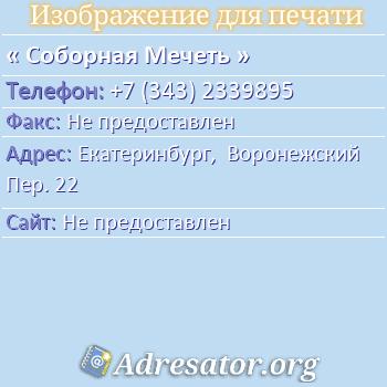 Соборная Мечеть по адресу: Екатеринбург,  Воронежский Пер. 22