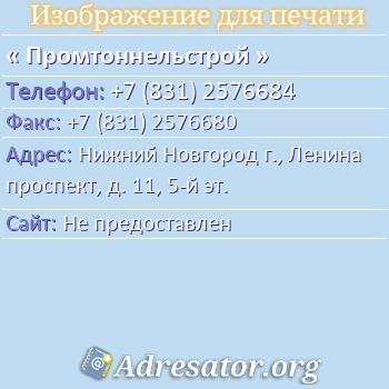 Промтоннельстрой по адресу: Нижний Новгород г., Ленина проспект, д. 11, 5-й эт.
