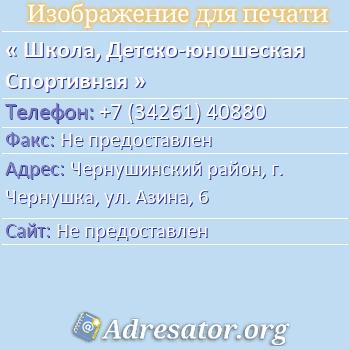 Школа, Детско-юношеская Спортивная по адресу: Чернушинский район, г. Чернушка, ул. Азина, 6