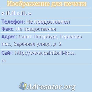 К.П.с.П. по адресу: Санкт-Петербург, Горелово пос., Заречная улица, д. 2