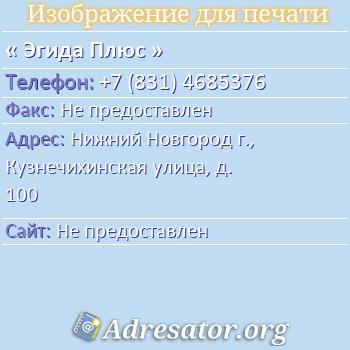 Эгида Плюс по адресу: Нижний Новгород г., Кузнечихинская улица, д. 100