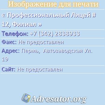 Профессиональный Лицей # 12, Филиал по адресу: Пермь,  Автозаводская Ул. 19