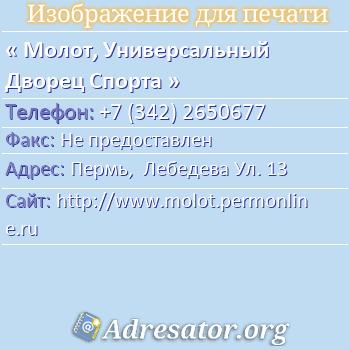 Молот, Универсальный Дворец Спорта по адресу: Пермь,  Лебедева Ул. 13