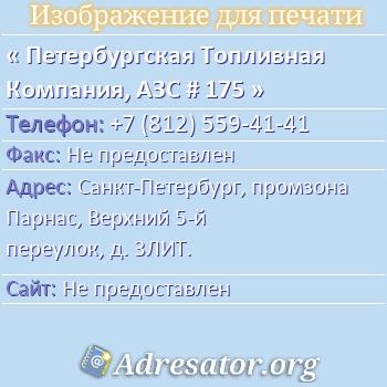 Петербургская Топливная Компания, АЗС # 175 по адресу: Санкт-Петербург, промзона Парнас, Верхний 5-й переулок, д. 3ЛИТ.
