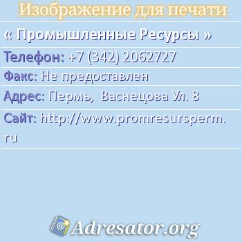 Промышленные Ресурсы по адресу: Пермь,  Васнецова Ул. 8